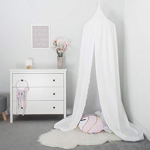 Tyhbelle Baby Baldachin Betthimmel Kinder Babys Bett Baumwolle Hängende Moskiton für Schlafzimmer Ankleidezimmer Spiel Lesen Zeit Höhe 230 cm Saumlänge 270cm (Weiß)