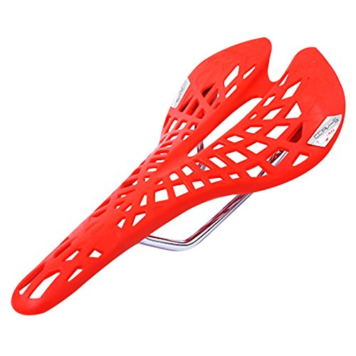 Qivor Bicycle Saddle Seat Cushion Spider Carbon Fiber PU Breathable Soft Cycling Accessories Mountain Road Bike Seats (Color : Red)