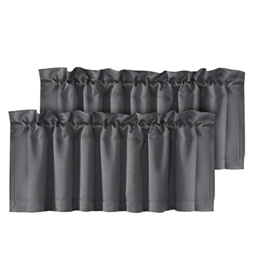 """H.VERSAILTEX 2 Panels Blackout Curtain Valances for Kitchen Windows/Bathroom/Living Room/Bedroom Privacy Decorative Rod Pocket Short Winow Valance Curtains, 52"""" W x 18"""" L, Charcoal Gray"""