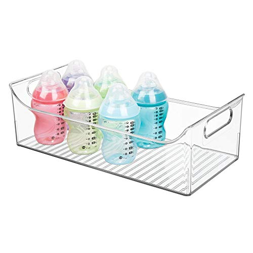 mDesign Wide Storage Organizer Container Bin with Handles for Kids/Child Supplies in Kitchen, Pantry, Nursery, Bedroom, Playroom - Holds Snacks, Bottles, Baby Food - BPA Free, 16' Long - Clear