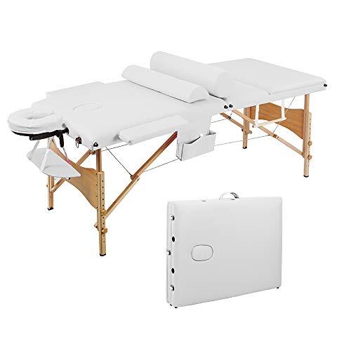 Table de Massage Pliante Professionnel en Bois, Lit Cosmétique avec Housse de Transport et Accessoires Massage 3 Sections Portable Ergonomique, Blanc
