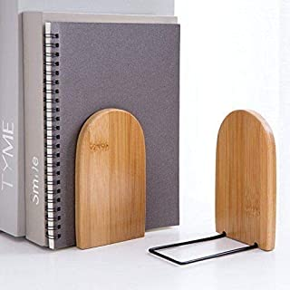 2pcs Serre-Livres en Bambou Support de Stockage de Livre Presse-Livres pour Rangement de Livre Magazine Antidérapant Organ...