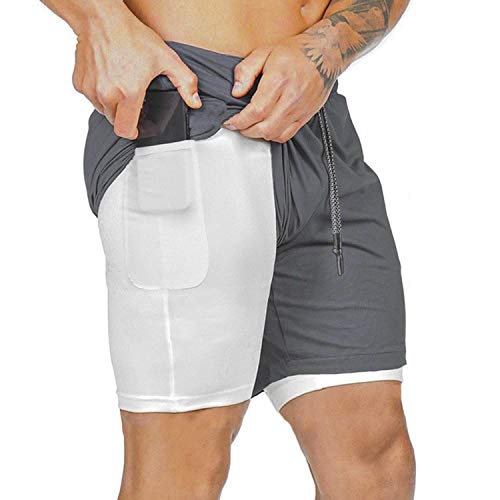 heekpek Pantaloncini Sportivi da Uomo 2 in 1 Sport e Allenamento Fitness Shorts Jogging Pantaloncini Asciugatura Veloce