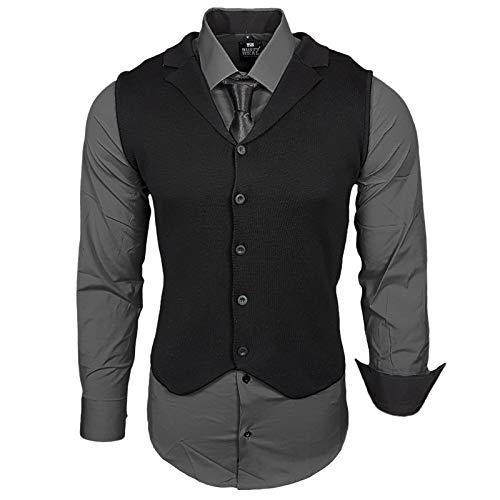 Rusty Neal Herren Hemd Weste Krawatte Set Hemden Business Hochzeit Freizeit Slim Fit, Farbe:Anthrazit, Größe:3XL