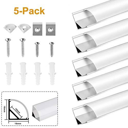 Kefflum 5 Meter LED Profil (5 * 1Meter) LED Aluminium Profil 45 Grad für Strip Lights Breite Schneidbar Mit Endkappe Befestigungsclip Geeignet für LED-Strips/Band bis 12mm