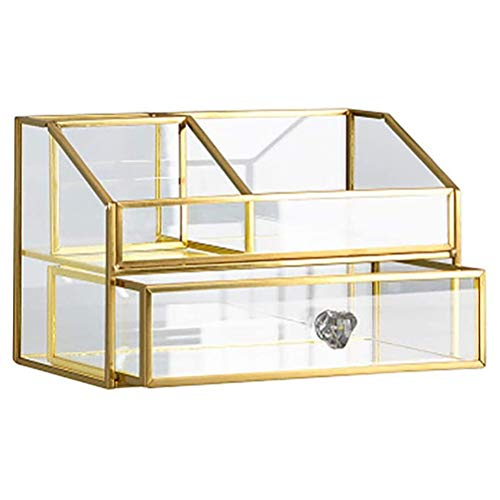 Kousa Boîte de rangement en verre avec tiroir - Organiseur de maquillage transparent pour bijoux et cosmétiques - Grande capacité pour le bureau