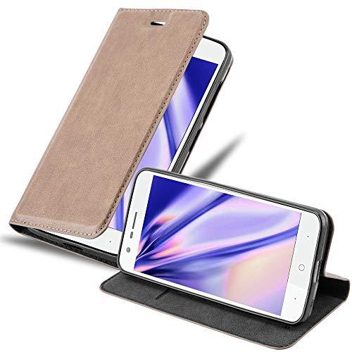 Cadorabo Hülle für ZTE Blade V8 Mini in Kaffee BRAUN - Handyhülle mit Magnetverschluss, Standfunktion & Kartenfach - Hülle Cover Schutzhülle Etui Tasche Book Klapp Style