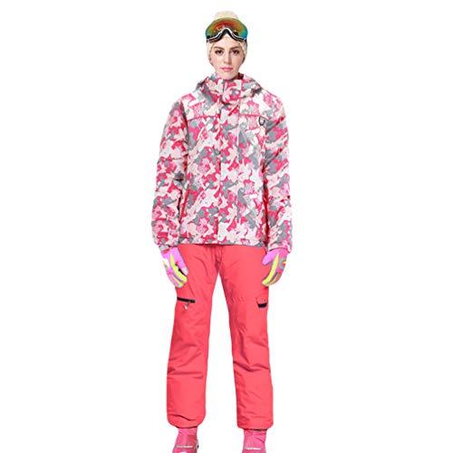 Lvguang Erwachsene und Kinder wasserdichte Berg-Skijacke Winddichte Warme Reisejacke mit Mehreren Taschen & Skihosen (Orange#4, Asia(F) L)