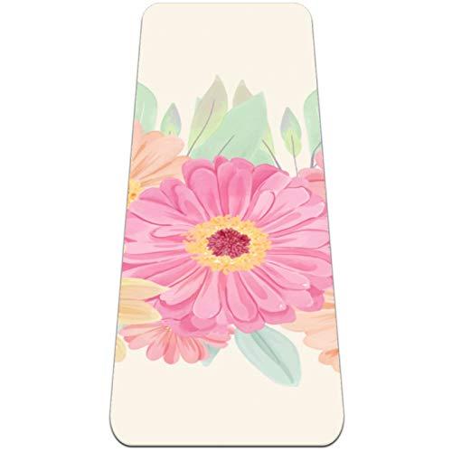 Colorido Daisy Bunch Esterilla de yoga gruesa antideslizante para mujeres y niñas Yoga | Pilates | Ejercicios de piso (72 x 24 pulgadas, 1/4 pulgadas de grosor)