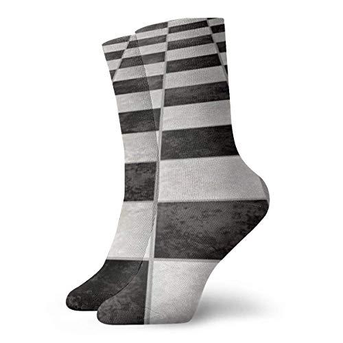 N\\A Lässige Crew-Socken, ein großes Bild von schwarz-weißen Marmorfliesen, Polyester, Männer & Frauen, Länge: 11,81 Zoll