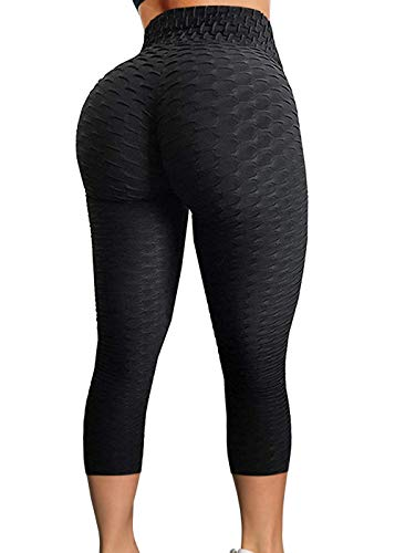 CROSS1946 Sexy Women's Textured Booty Yoga Pants High Waist Ruched Workout Butt Lifting Pants Tummy Control Push Up #2 Capris Black,M