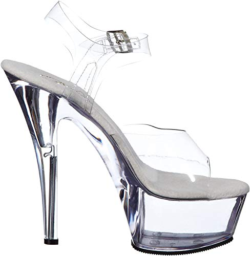 Pleaser KISS-208, Damen Plateau, Transparent (Clr/clr), 42 EU (9 UK) (12 M US)