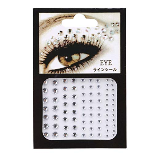 GOMYIE 81 Pièces Cristal Yeux Autocollants Tatouage Strass Maquillage Eyeliner Partie Ombre À Paupières Visage Autocollant (Blanc)