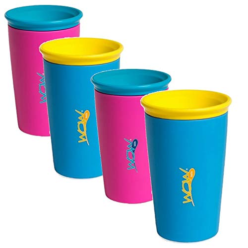 As Seen on TV Wow Cup, Spill-Proof Cup (4 pack 2 Pink 2 Blue)