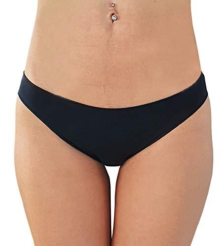 L'altra Cotonella Mini-Unterhose für Damen mit niedriger Taille, 3 Stück, aus Baumwolle, bi-elastisch, mit unsichtbarem Finish, Art.3487, Schwarz L