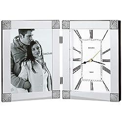 Bulova B1254 Ceremonial Picture Frame Clock, Silver