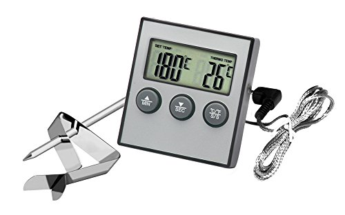 Hotloop Digitales Grill Ofen Thermometer Meat Thermometer Backen Thermometer Mit Timer, Alarm, Edelstahlsonden, Orange Hinterbeleuchtung und Temperaturmessbereich -50°C~300°C (Silber)