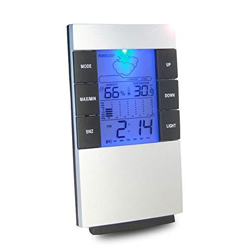MFQ Temperaturmessgerät1Stk. Lcd Digitales Temperatur-Feuchtigkeitsmessgerät Wettervorhersage Innenwetterstation mit Datumskalender-Uhrfunktion