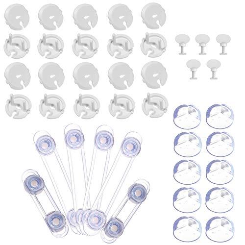 Kit Seguridad Bebe - Protector Enchufes para Bebés(20 fundas + 5 llaves)+6 x Bebé de Seguridad Bloqueo +10 x Protector de Seguridad para Niños