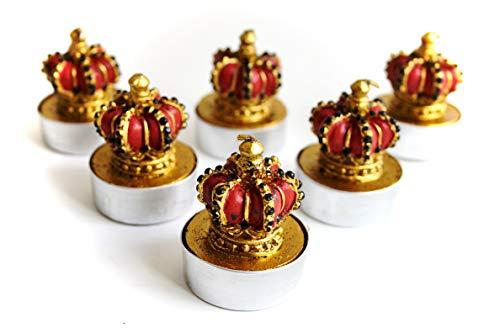 Gisela Graham rot und gold Krone Wachs Teelicht Kerzen???Set von 6