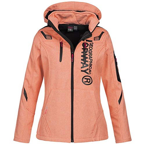 Geographical Norway Damen Softshell-Jacke Truffe mit Kapuze Coral L
