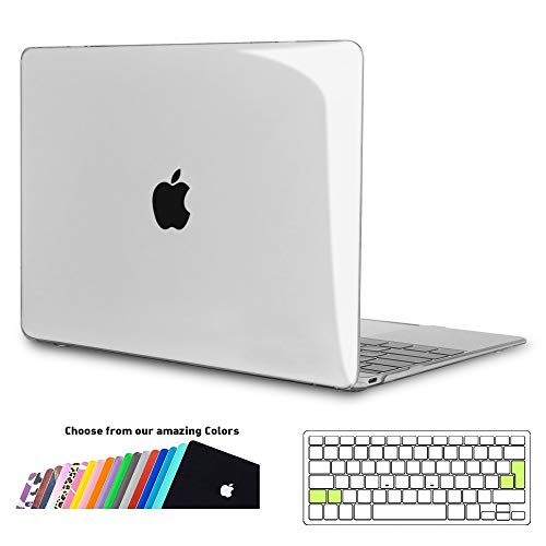 iNeseon MacBook 12 Case Cover, Ultra Slim Hard Shell Protection Case with Keyboard Cover for 2015-2017 MacBook 12-inch Retina Model A1534, Crystal Clear