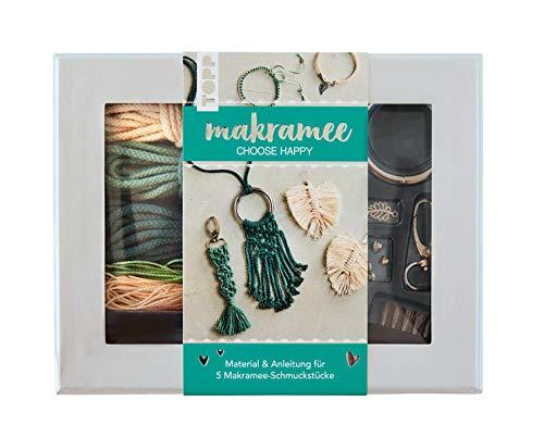 """Makramee-Schmuckset """"Choose Happy"""" (Petrol/Natur): Anleitung und Material für 5 Makramee Schmuckstücke. Mit Makramee-Drahtbürste und Knüpfboard."""