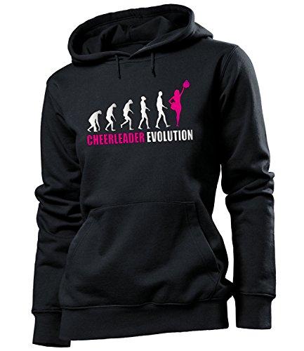 Golebros Cheerleader Evolution Geburtstag Geschenke Damen Frauen Hoodie Pulli Sweatshirt Kapuzen Pullover Bekleidung Oberteil Kleidung Outfit Artikel Tanzsport Football Cheerleading