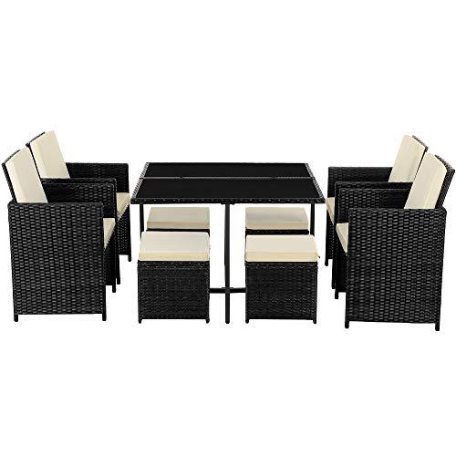 SONGMICS Conjunto de 9 Muebles de jardín de ratán, Exterior, 4 sillas y 4 taburetes, Centro de Mesa con Tapa de Cristal, con Cojines, Fácil de Guardar, Ahorra Espacio, Negro y Beige GGF009B01
