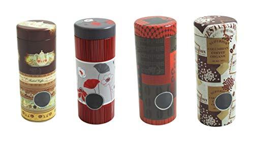 4x Kaffeepaddosen, Dekodose, Aufbewahrungsbehälter für Kaffeepads (4 Stück) + Metall Padheber +