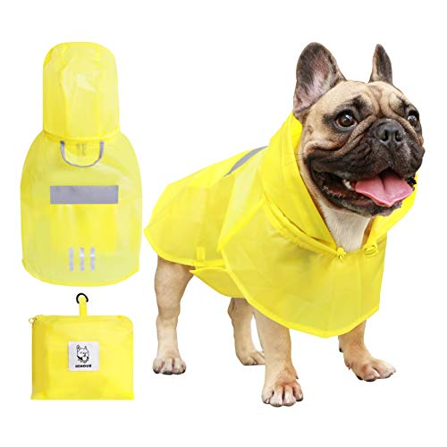 iChoue Dog Raincoat Packable Waterproof Adjustable with Reflective Straps Lightweight Rain Jacket Poncho for Small French Bulldog Pug Puppy (Yellow, S)