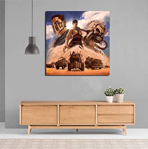 Zahuishile Mad Maxes Auto Fury Road Tapete Leinwand Malerei Drucken Wohnzimmer Wohnkultur Moderne Wandkunst Ölgemälde Poster Salon Bild 50X50 cm Ohne Rahmen