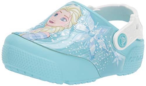 Crocs Kids' Fun Lab Frozen Elsa Light-Up Clog, Ice Blue, 5 M US Toddler