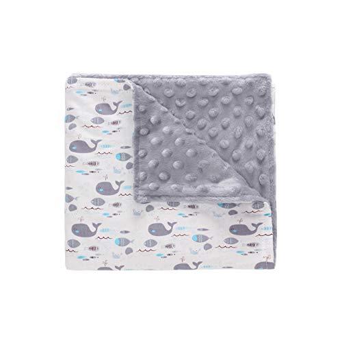 Miracle Baby Minky Babydecke | Kuscheldecke Krabbeldecke | 100% Baumwolle Super Weich und Flauschig Decke für Neugeborene-110 * 140cm(Groß,Wal)