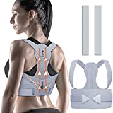 Posture Corrector Women Men, ZINUU Back Brace Lower Back Support Belt Adjustable and Breathable Clavicle Support Providing Pain Relief from Neck Back & Shoulder (Grey, Waist 70-130 cm)