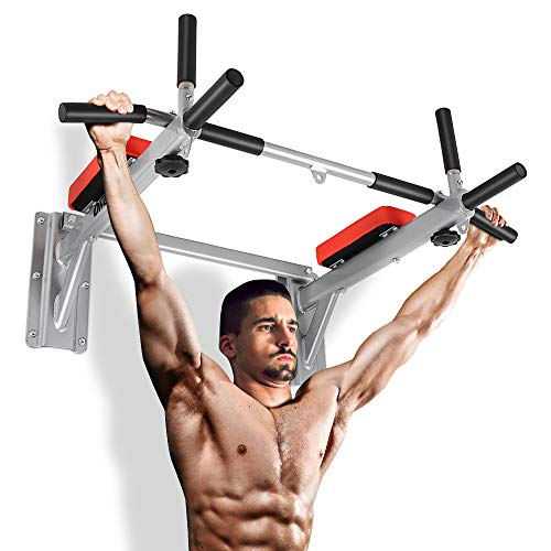 ONETWOFIT Barra con Supporto da Muro Barra per Esercizi Chin Up Stazione Domestica da Allenamento Completa Body Trainer con Occhiello Punching Bag per Power Boxing OT066