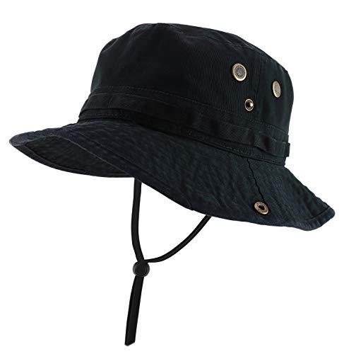 Armycrew Big Oversized Jungle Boonie Bucket Hat with Chin String Fits Upto XXXL - Black - XL-2XL