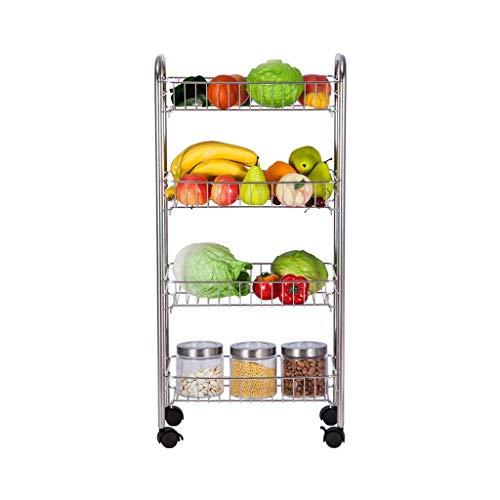 GLXLSBZ 304 Acero Inoxidable Servicio de 4 Capas para el hogar, Verduras y Frutas, Estante para condimentos, Estante de Almacenamiento, Carrito móvil Multifuncional (cómodo Coche Comedor)