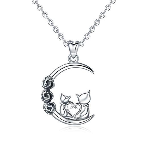 Femmes Colliers de Chats de Argent Sterling 925, Chatons et la Lune Pendentif avec Chaîne 46CM,...