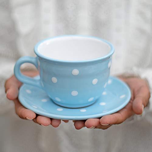 City to Cottage® - Keramik Kaffebecher Teetasse 350 ml | Hellblau und Weiß | Polka Dots | Handgemacht | Kaffeetasse mit Untertasse | Cappuccino Tasse