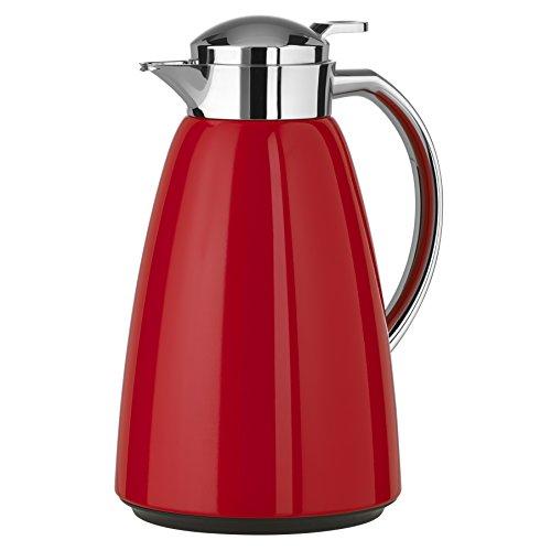 Emsa Campo Isolierkanne 516525 | 1L Füllmenge | Quick Tip Verschluss | 100% dicht | 12h warm, 24h kalt | Premium Edelstahl | Einfache Reinigung | Rot glänzend