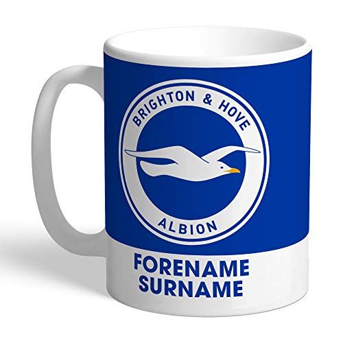 Official PERSONALISED Brighton & Hove Albion FC Bold Crest Mug