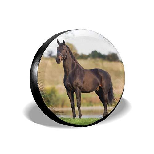 Xhayo The Black Horse - Cubierta universal de repuesto para neumáticos, impermeable, a prueba de polvo, para remolques, RV, SUV y muchos vehículos (negro, diámetro 14-17 pulgadas)