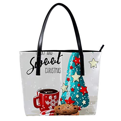 Chocolate Cookies rote Kaffeetasse und Weihnachtsbaum Damen PU Leder Mode Handtasche Top-Griff Schultertaschen Totes Geldbörsen