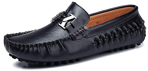 Men's Premium Genuine Leather Fashion Shoes Driving Shoes Casual Slip On Loafers Moccasin Shipper Black