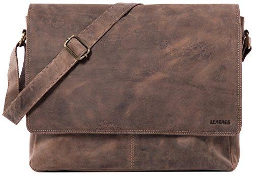 LEABAGS Oxford Umhängetasche Leder Laptoptasche 15 Zoll aus echtem Büffel-Leder im Vintage Look, (LxBxH): ca. 38x10x31 cm - Fallow