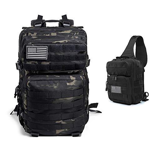 QT&QY 45L Tactical backpack Molle + 10L EDC Range Bag Military Sling Shoulder Pack