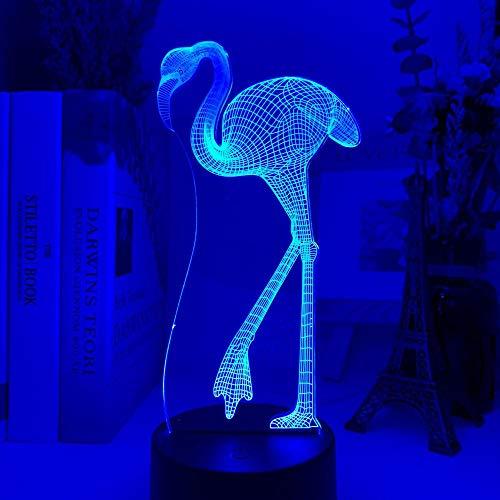 Luz De Noche Led Con Luz De Ilusión 3D Acrílico Flamenco Que Cambia De Color Sensor Táctil Dormitorio Dormitorio Regalos Coloridos Para Niños Lámpara De Mesita De Noche Para Niños Y Niñas