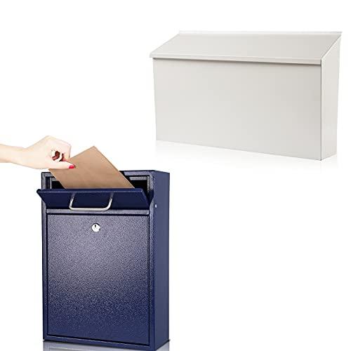 KYODOLED Wall-Mount Mailbox,Large Capacity Mail Box,White+Blue