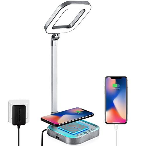 Schreibtischlampe LED mit 10W Wireless Charger und USB-Anschluss,LAOPAO Touch Control Tischlampe mit 5 Farb und 5 Helligkeitsstufen,Nachtlicht Funktion für Lesen, Büro, Kinderzimmer